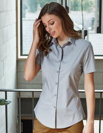 Ladies Stretch Fit Poplin Short Sleeve Cotton Shirt
